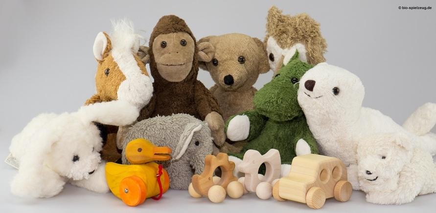 """""""Grüne Kuscheltiere"""": aus Bio-Baumwolle und gefüllt mit Buchweizen und Hirsespelz"""